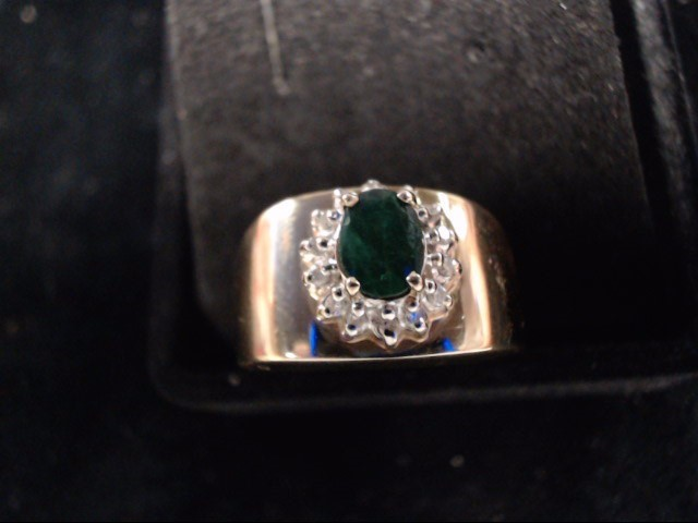 Green Stone Lady's Stone Ring 14K Yellow Gold 4.6g Size:7
