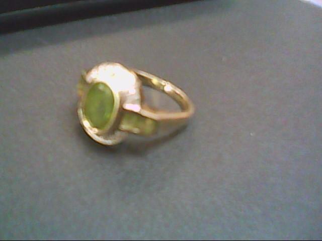 Peridot Lady's Stone & Diamond Ring 16 Diamonds .16 Carat T.W. 14K Yellow Gold