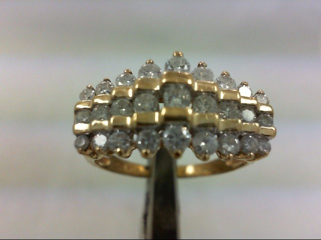 Lady's Diamond Cluster Ring 27 Diamonds 1.02 Carat T.W. 10K Yellow Gold 4.5g