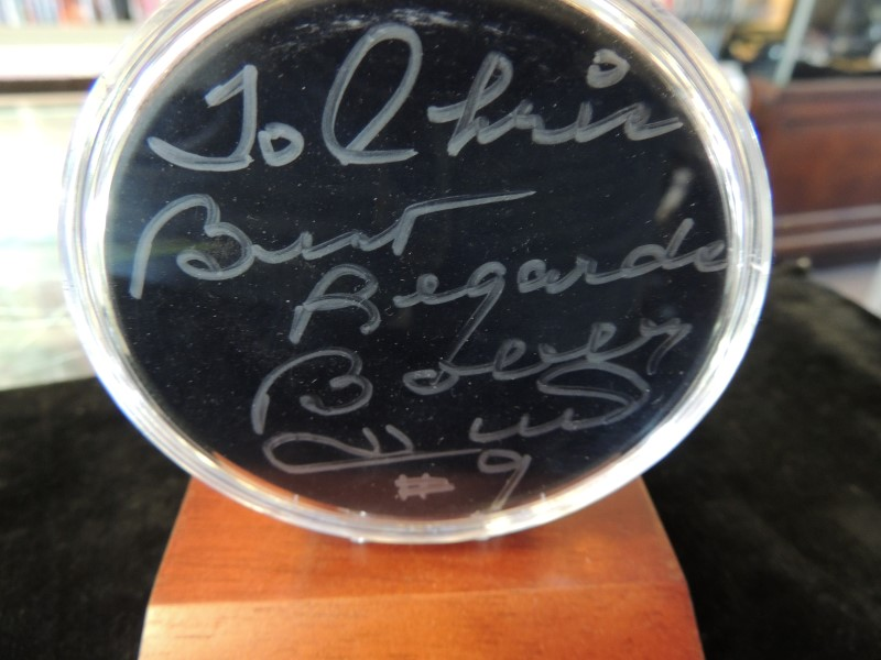 Bobby #9 Autographed/Signed Hockey Puck Chicago Blackhawks Hall of Fame 1983