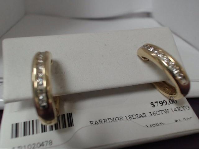 Gold-Diamond Earrings 18 Diamonds 0.36 Carat T.W. 14K Yellow Gold 6.22g