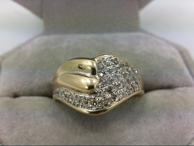 Lady's Diamond Cluster Ring 36 Diamonds 0.54 Carat T.W. 14K Yellow Gold 5.6g Siz