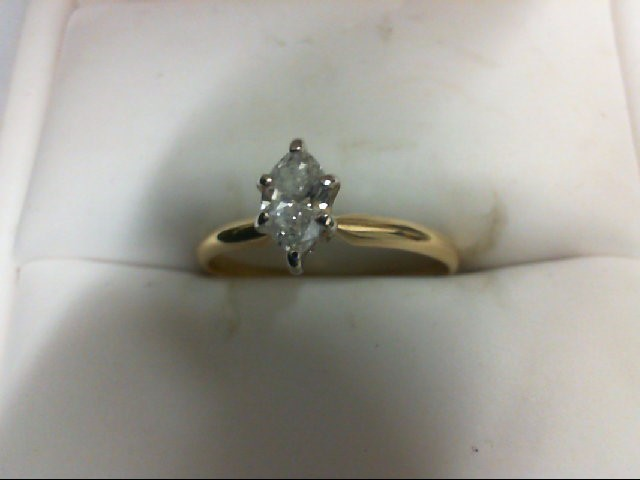 Lady's Diamond Solitaire Ring 0.32 CT. 14K Yellow Gold 1.4g Size:6.25