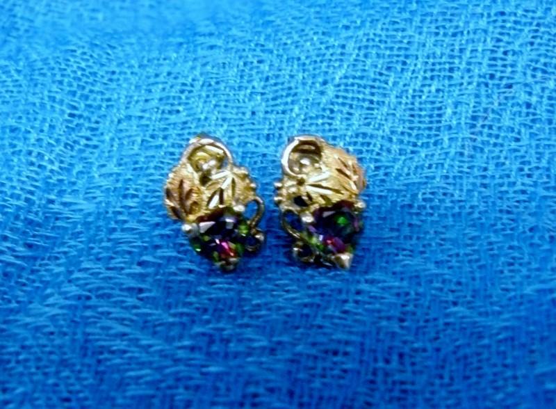 Purple Stone Silver-Stone Earrings 925 Silver 1.2dwt