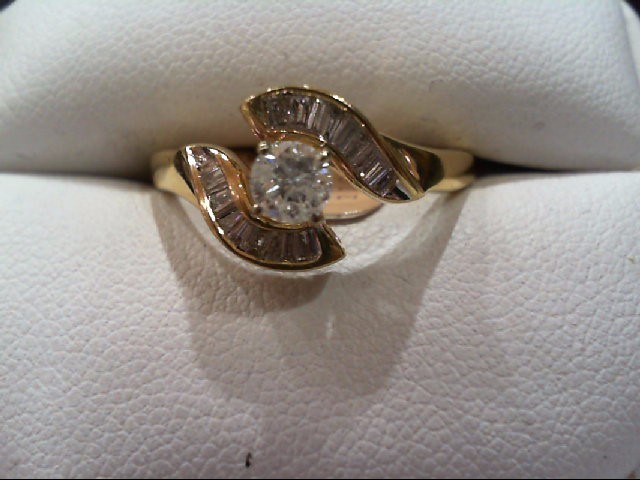 Lady's Diamond Engagement Ring 23 Diamonds .58 Carat T.W. 14K Yellow Gold 3.5g