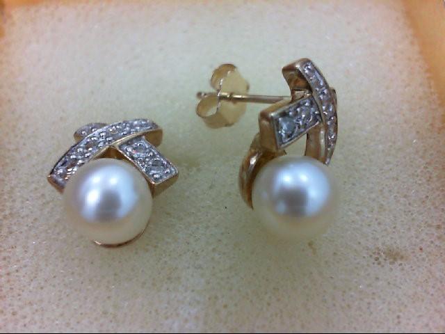 Pearl Gold-Diamond & Stone Earrings 12 Diamonds 0.12 Carat T.W. 10K Yellow Gold