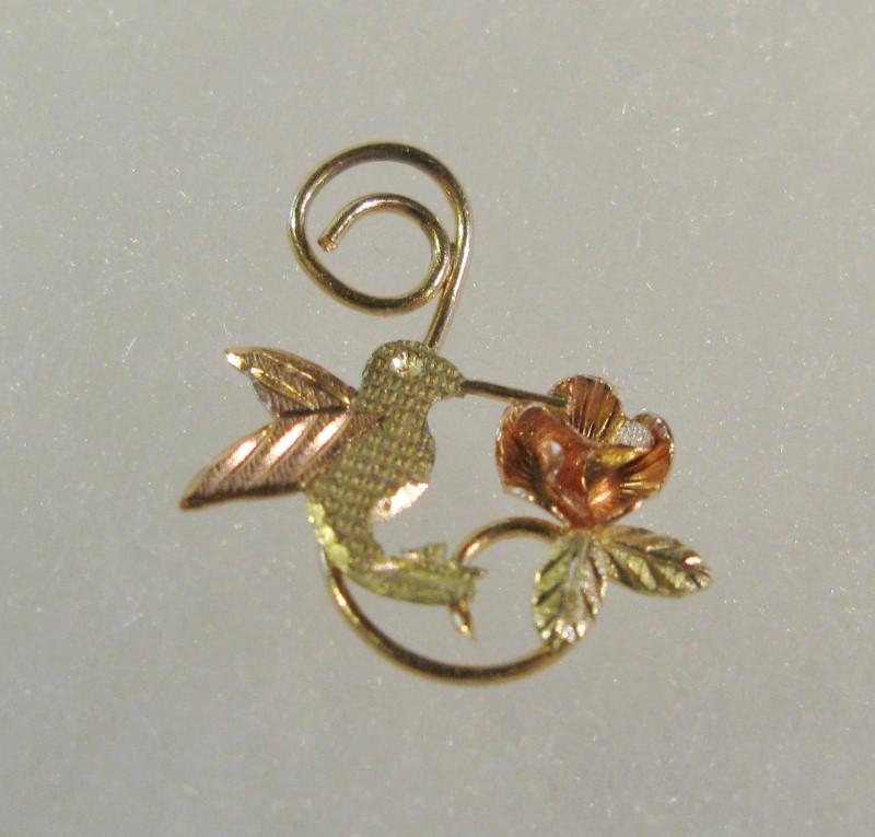 Black Hills Gold Hummingbird & Rose Pendant 10K Tri-color Gold 0.32dwt