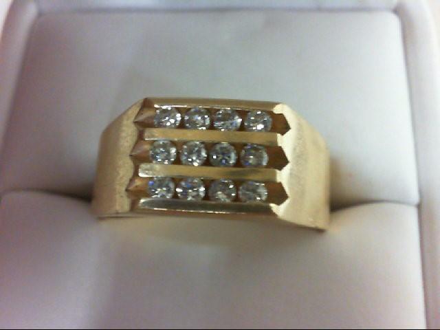 Gent's Diamond Cluster Ring 12 Diamonds .60 Carat T.W. 14K Yellow Gold 9g
