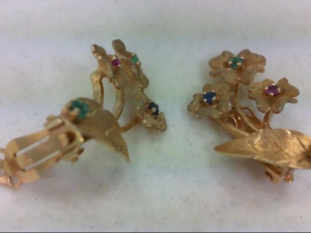 Emerald Gold-Stone Earrings 14K Yellow Gold 7.8g