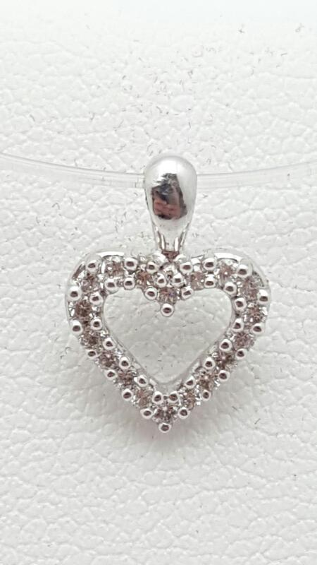 Gold-Multi-Diamond Pendant 14 Diamonds .14 Carat T.W. 14K White Gold 0.8g