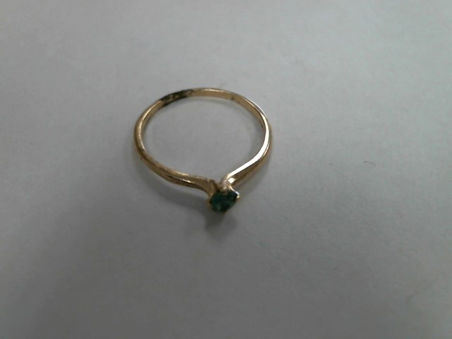 Green Stone Lady's Stone Ring 14K Yellow Gold 0.8dwt