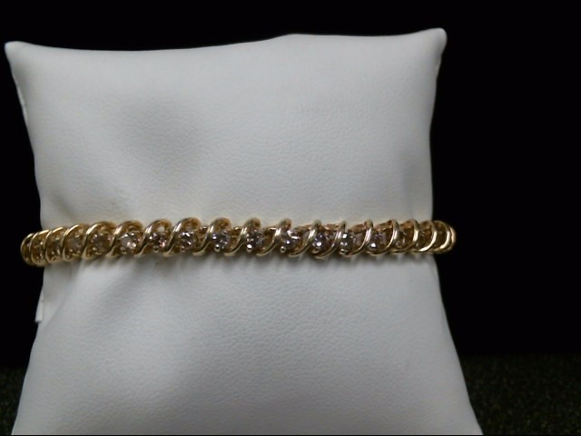 Gold-Diamond Bracelet 38 Diamonds 2.28 Carat T.W. 10K Yellow Gold 12.3g