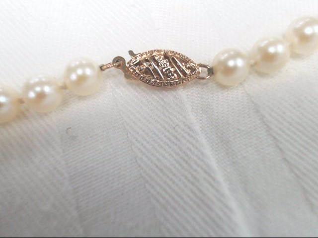 Pearl Stone Necklace 14K Yellow Gold Clasp 19.9g 5.00mm