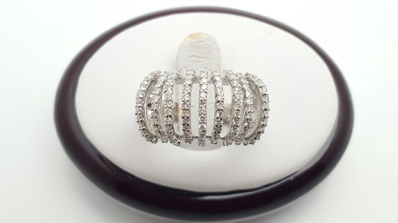 Lady's Diamond Fashion Ring 106 Diamonds 0.75 Carat T.W. 14K White Gold 5.4g