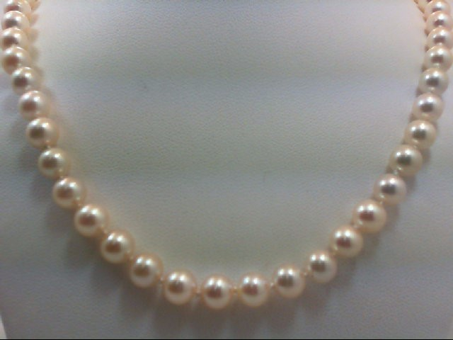 """18"""" Pearl Strand Stone Necklace 14K Yellow Gold 23g"""