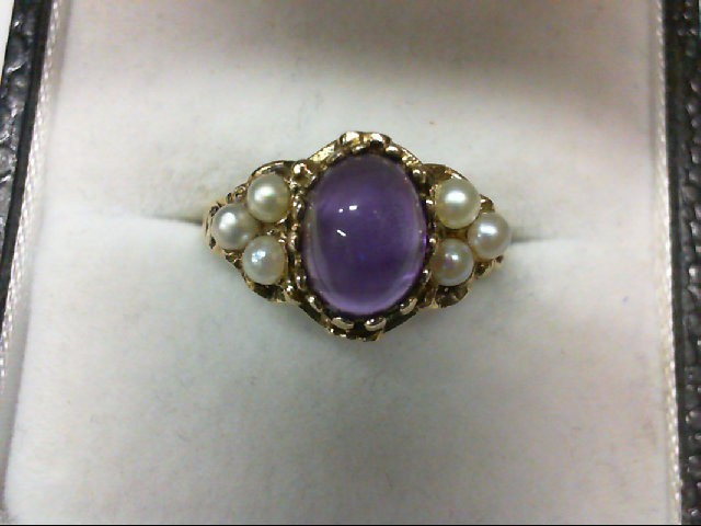 Pearl Lady's Stone Ring 14K Yellow Gold 2.6g