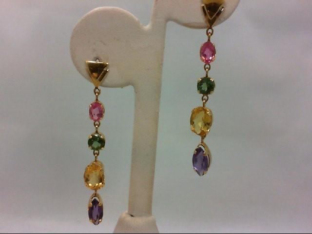 Citrine Gold-Stone Earrings 18K Yellow Gold 5.8g