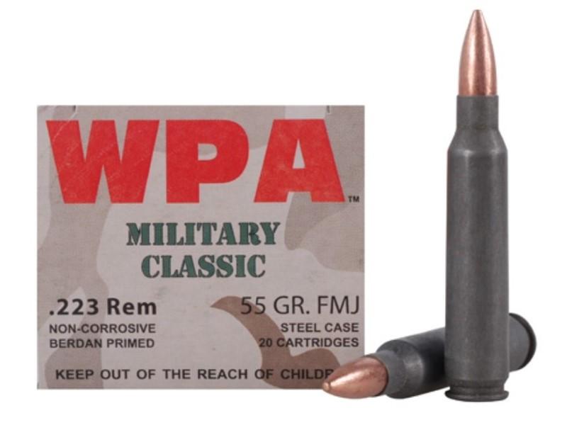 WPA AMMUNITION Ammunition .223 REM 55 GR. FMJ 20 CARTRIDGES