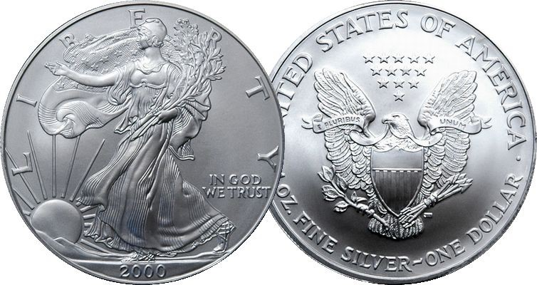 UNITED STATES Silver Coin 2000 SILVER WALKING LIBERTY