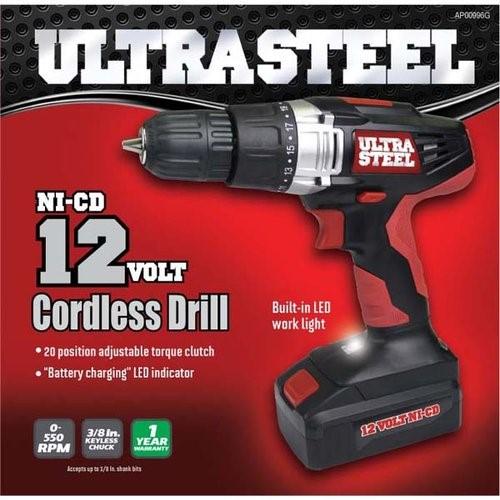 ULTRA STEEL Cordless Drill AP00996G NI-CD 12 VOLT CORDLESS DRILL