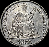 UNITED STATES Silver Coin 1876 DIME