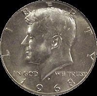 UNITED STATES Silver Coin 1968 KENNEDY HALF DOLLAR