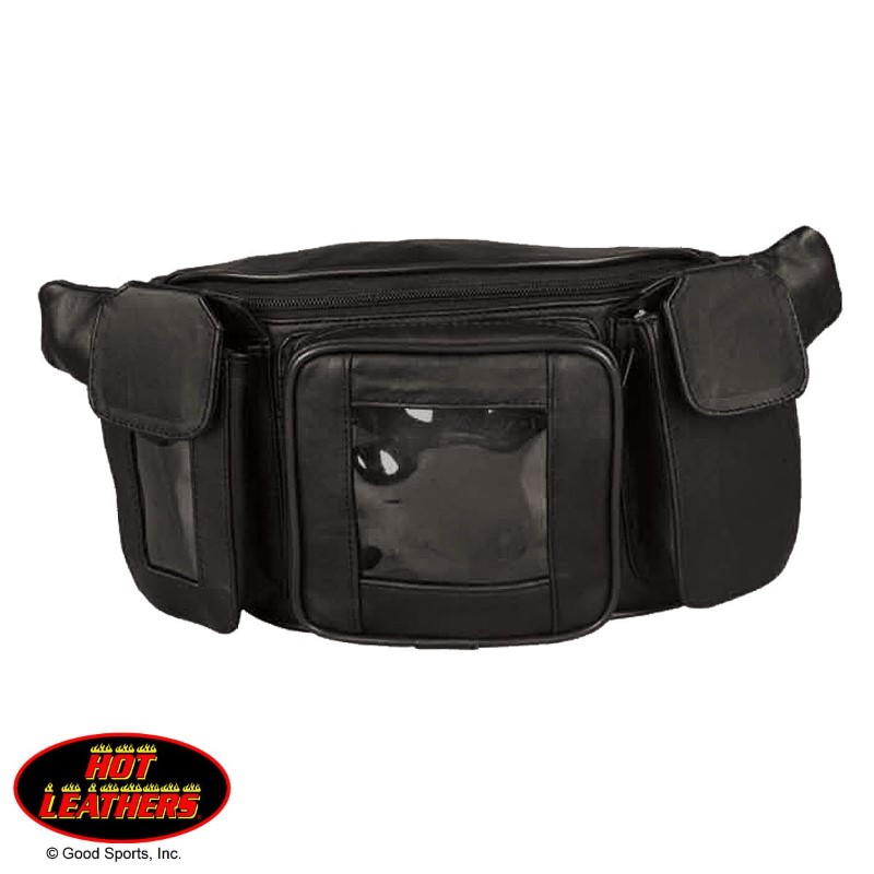 TKA1005, MAGNETIC LEATHER TANK BAG DESIGNED W/ 4 POCKETS, 2 W/CLEAR PANELS