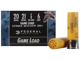"FEDERAL AMMUNITION Ammunition 20 GA 2.75"" 7/8 OZ #6 GAME LOAD"