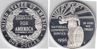 UNITED STATES SILVER PROOF 1996 NATIONAL COMMUNITY SERVICE