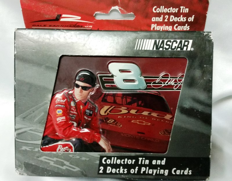 DALE EARNHARDT JR 2 DECK PLAYING CARDS IN TIN CASE