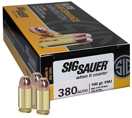 SIG SAUER Ammunition 380 AUTO 50 ROUNDS 100GR FMJ