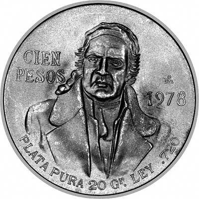 MEXICO Silver Coin CIEN PESOS 1978