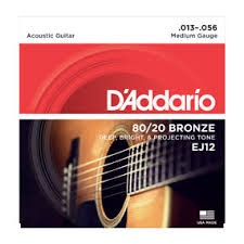 D'ADDARIO Musical Instruments Part/Accessory EJ12 ACOUS GUITAR STRINGS BRZ MED