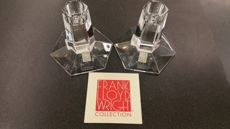 "FRANK-LLOYD-WRIGHT Glass/Pottery 3 1/2"" CANDLESTICK0"