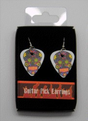 FANTASY GIFTS 2528 BLACK FACE DAY OF THE DEAD GUITAR PICK EARRINGS