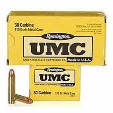 UMC AMMO Ammunition 110GR - 30 CARBINE - 50 CARTRIDGES