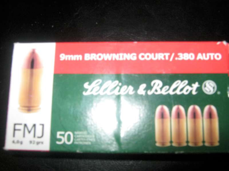 SELLIER & BELLOT AMMUNITION 9MM BROWNING COURT/.380 AUTO