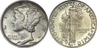UNITED STATES Silver Coin 1944 MERCURY DIME