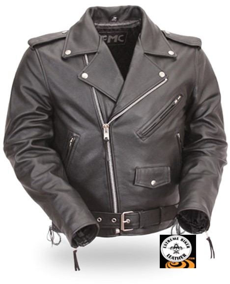 MODEL FMM205CRZ, CLASSIC SIDE-LACE MOTORCYCLE JACKET W/ ZIP OUT LINER, SIZE 42,