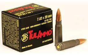 TUL AMMO Ammunition 7.62 X 39MM 122 GR. FMJ