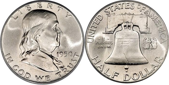 UNITED STATES Silver Coin FRANKLIN HALF DOLLARS - 1948-1963