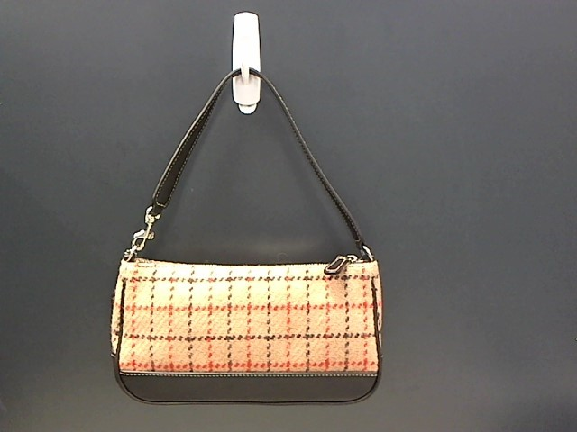 COACH PLAID STYLED TAN BROWN LEATHER WOOL BAG 7535