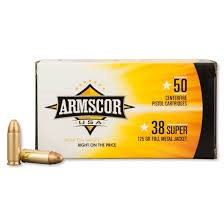 ARMSCOR Ammunition 38 SUPER 125 GR FMJ