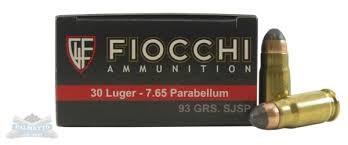FIOCCHI AMMUNITION Ammunition .30 LUGER 93 GR FMJ (765A)