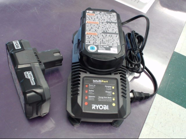 RYOBI Battery/Charger P118 18 VOLT CHARGER WITH 2 BATTERIES