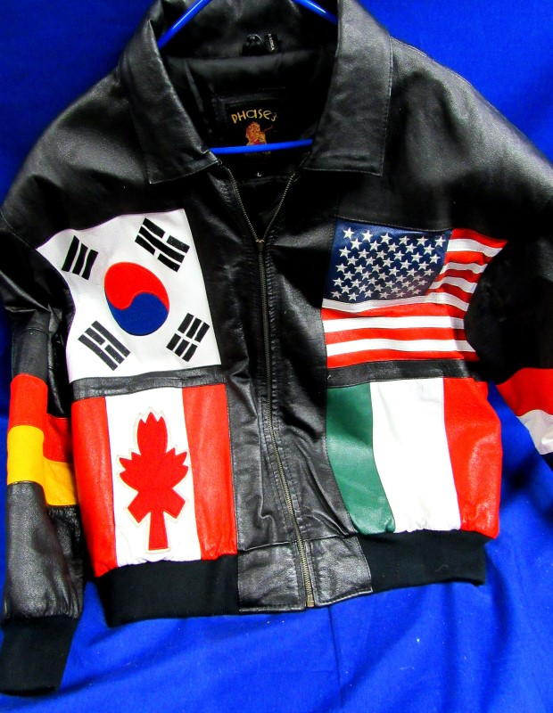 PHASE 3 FLAGS OF THE WORLD LEATHER JACKET