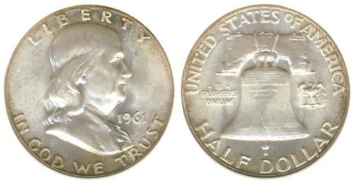 UNITED STATES Silver Coin 1961 FRANKLIN HALF DOLLAR