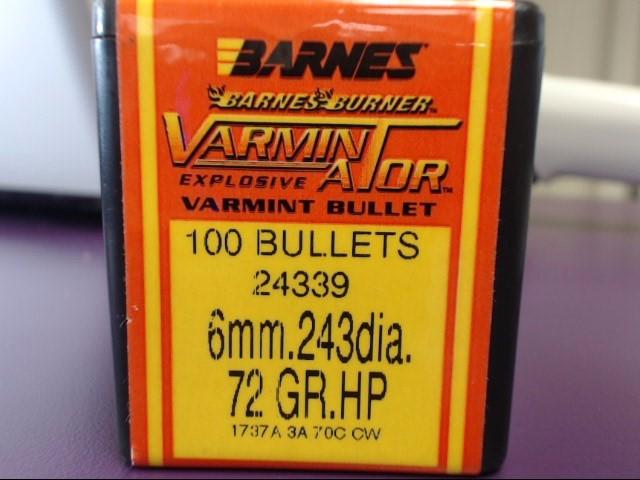 BARNES AMMUNITION .243 VARMINATOR 72 GR.HP #24339