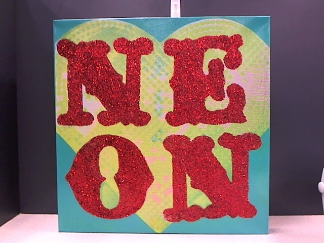 "JESSICA GALINDO Painting 18 X 18 GLITTER ART ""NEON"" ON CANVAS"