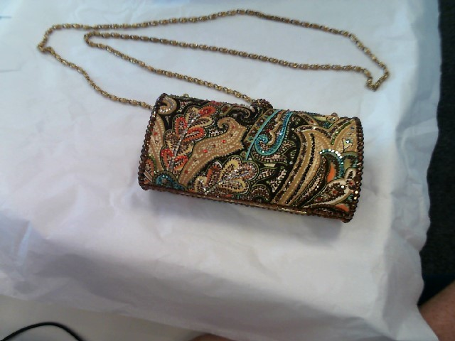 Beautiful Letty Multicolored Bead Embellished Paisley Clutch Purse Chain Strap